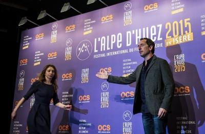 Le président du jury du 18e Festival international du film de comédie de l'Alpe d'Huez Gad Elmaleh, mercredi 14 janvier 2015 (Jeff Pachoud / AFP).