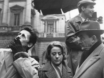 Sur le tournage de Rocco et ses Frères, en 1959 (DR).