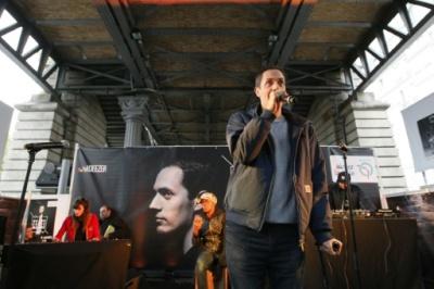 Le slameur français Fabien Marsaud, connu sous son nom d'artiste, Grand Corps Malade, le 21 octobre 2015 à Paris (AFP).